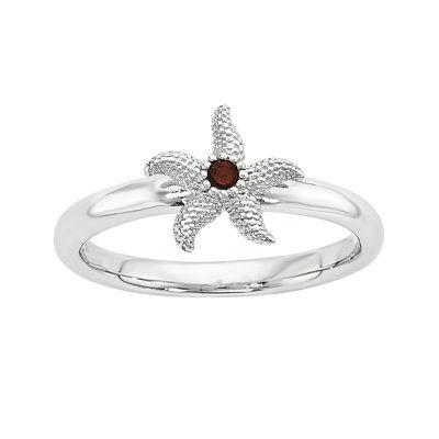Sterling Silver Stackable Genuine Garnet Starfish Ring