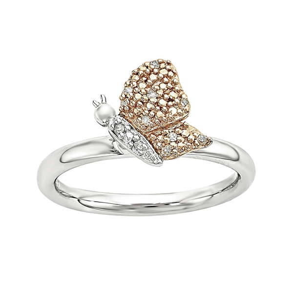 Personally Stackable Diamond-Accent Sterling Silver Rose Gold Stackable Butterfly Ring