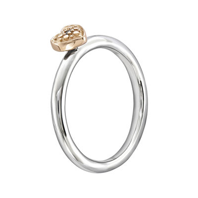 Personally Stackable Diamond-Accent Sterling Silver & Rose Gold Stackable Heart Ring