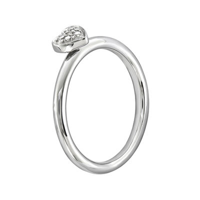 Personally Stackable Diamond-Accent Sterling Silver Stackable Heart Ring
