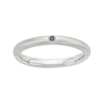 Personally Stackable Color-Enhanced Blue Diamond-Accent Sterling Silver Stackable Ring