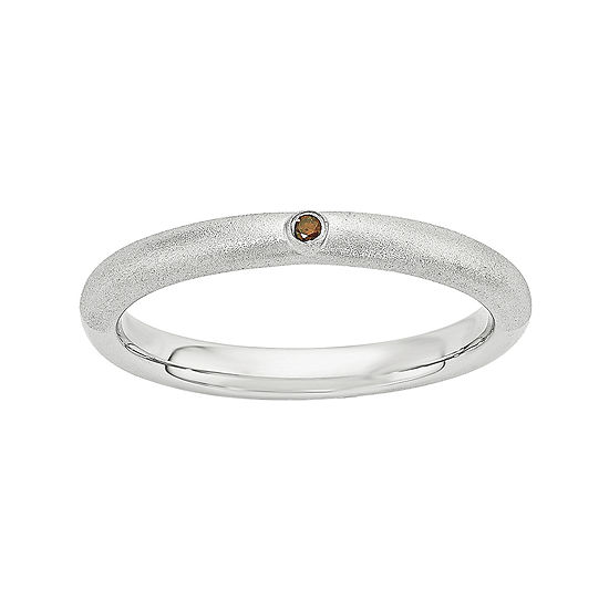 Personally Stackable Color-Enhanced Red Diamond-Accent Sterling Silver Stackable Ring
