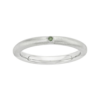 Personally Stackable Color-Enhanced Green Diamond-Accent Sterling Silver Stackable Ring