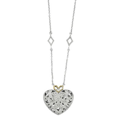 Shey Couture 1/10 CT. T.W. Diamond Sterling Silver 14K Heart Necklace