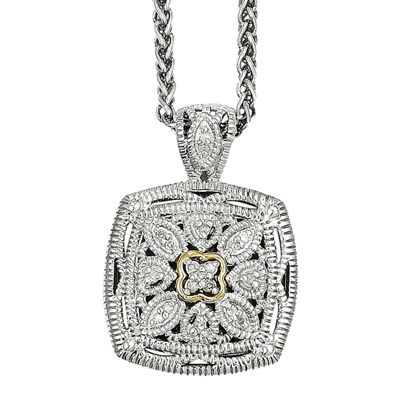 Shey Couture 1/10 CT. T.W. Diamond Sterling Silver 14K Gold Necklace