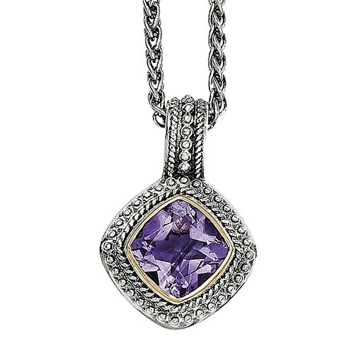 Shey Couture Genuine Amethyst Sterling Silver and 14K Gold Necklace