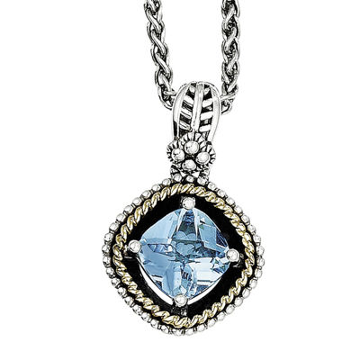 Shey Couture Genuine Swiss Blue Topaz Sterling Silver with 14K Yellow Gold Pendant Necklace