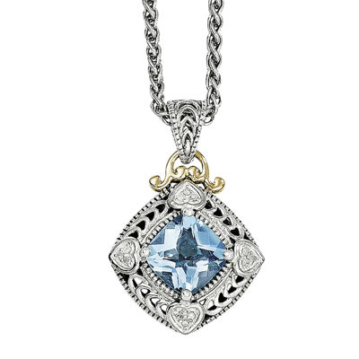 Shey Couture Genuine Blue Topaz and Diamond-Accent Pendant Necklace