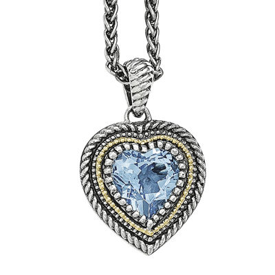 Shey Couture Genuine Swiss Blue Topaz Sterling Silver 14K Gold Heart Necklace