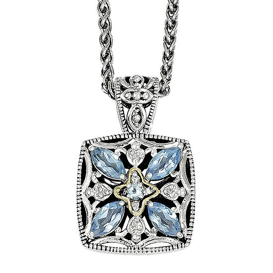 Shey Couture Genuine Blue Topaz and Diamond-Accent Sterling Silver 14K Gold Necklace