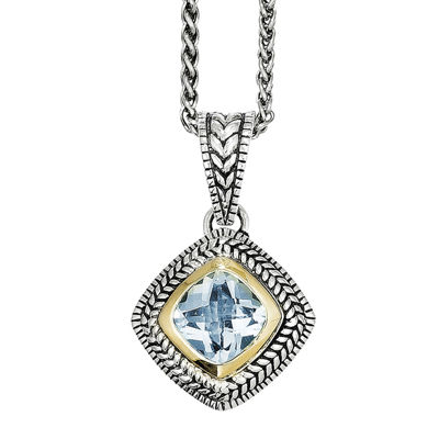 Shey Couture Genuine Sky Blue Topaz Sterling Silver 14K Gold Necklace