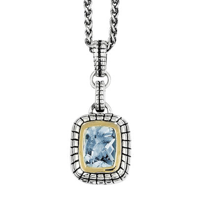 Shey Couture Genuine Swiss Blue Topaz Sterling Silver and 14K Yellow Gold Pendant Necklace