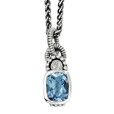 Shey Couture Genuine Sky Blue Topaz and Diamond-Accent Sterling Silver Pendant Necklace