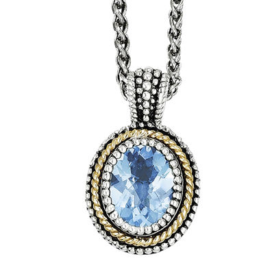Shey Couture Genuine Blue Topaz Sterling Silver and 14K Yellow Gold Oval Pendant Necklace
