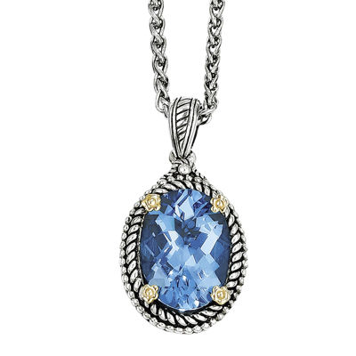 Shey Couture Genuine Swiss Blue Topaz Sterling Silver Necklace