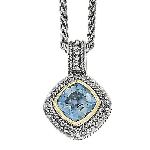 Shey Couture Genuine London Blue Topaz Sterling Silver Cushion Pendant Necklace