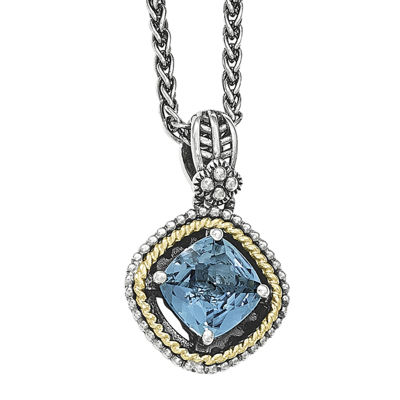Shey Couture London Blue Topaz Sterling Silver Cushion Pendant Necklace
