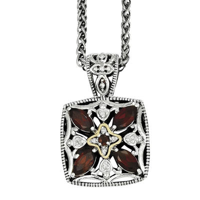 Shey Couture Genuine Garnet and Diamond-Accent Pendant Necklace