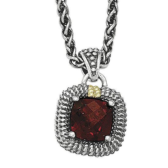 Shey Couture Genuine Garnet Sterling Silver and 14K Yellow Gold Cushion Pendant Necklace