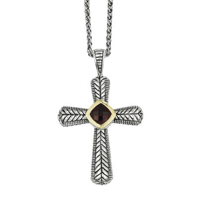 Shey Couture Genuine Garnet Sterling Silver and 14K Yellow Gold Cross Pendant Necklace