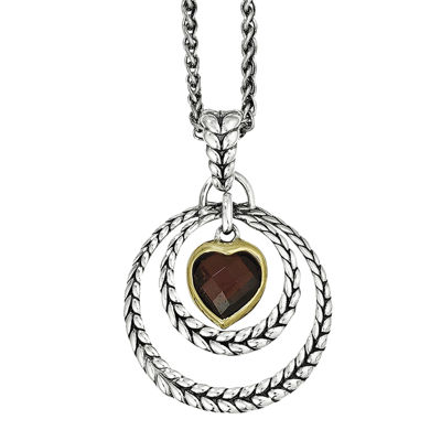 Shey Couture Genuine Garnet Heart Pendant Necklace