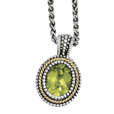Shey Couture Genuine Peridot Sterling Silver 14K Gold Pendant Necklace