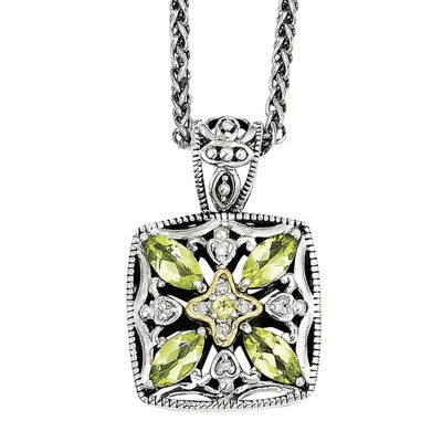 Shey Couture Genuine Peridot and Diamond-Accent Pendant Necklace