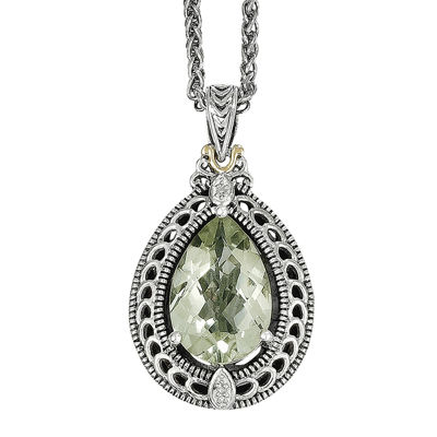 Shey Couture Genuine Green Quartz and Diamond-Accent Sterling Silver Necklace