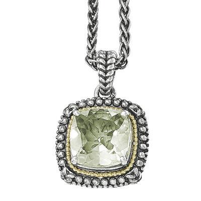 Shey Couture Genuine Green Quartz  Sterling Silver Pendant Necklace