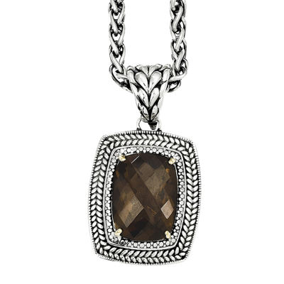 Shey Couture Smoky Quartz Two-Tone Antiqued Pendant Necklace