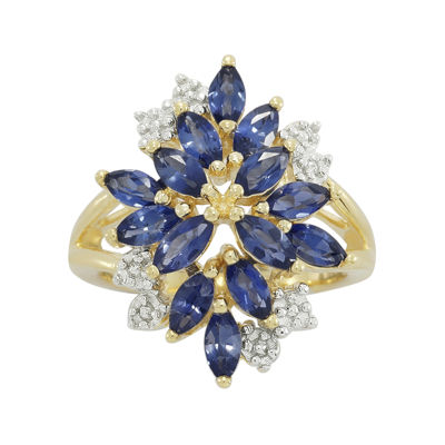 Blue and White Lab-Created Sapphire 14K Yellow Gold Over Sterling Silver Ring