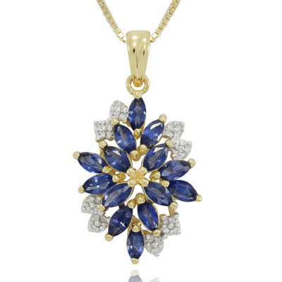 Blue and White Lab-Created Sapphire 14K Yellow Gold Over Sterling Silver Pendant Necklace