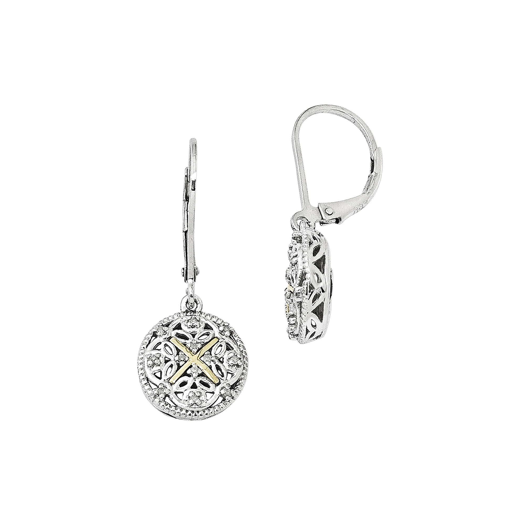 Shey Couture 1/8 CT. T.W. Diamond 14K Sterling Silver Vintage-Look Earrings plus size,  plus size fashion plus size appare