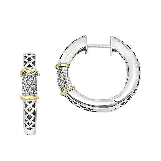 Shey Couture 1/10 CT. T.W. Diamond Sterling Silver Hinged Hoop Earrings