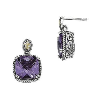 Shey Couture Genuine Amethyst Sterling Silver and 14K Gold Dangle Post Earrings