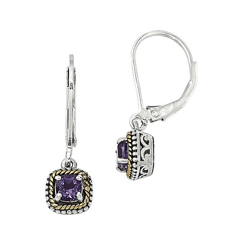 Shey Couture Genuine Amethyst Sterling Silver and 14K Gold Earrings