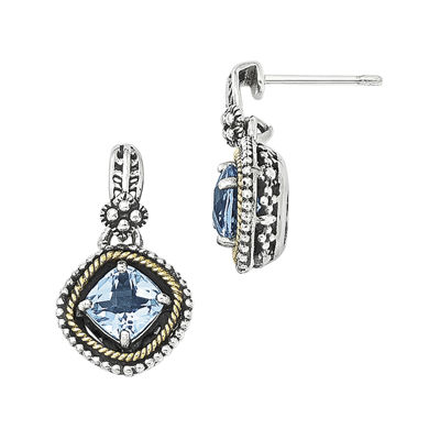 Shey Couture Genuine Swiss Blue Topaz Sterling Silver with 14K Yellow Gold Earrings