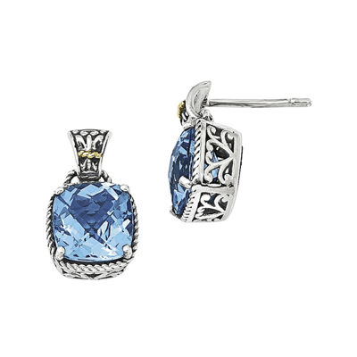 Shey Couture Genuine Blue Topaz Sterling Silver with 14K Yellow Gold Earrings