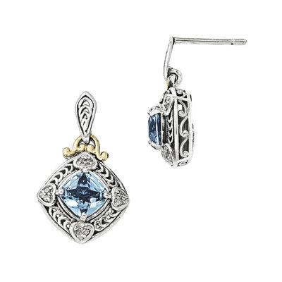 Shey Couture Genuine Blue Topaz and Diamond-Accent Sterling Silver with 14K Yellow Gold Earrings