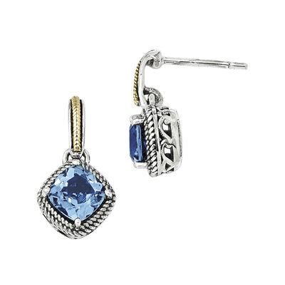 Shey Couture Genuine Light Swiss Blue Topaz Sterling Silver with 14K Yellow Gold Earrings