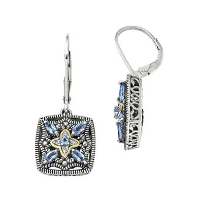 Shey Couture Genuine Blue Topaz and Diamond-Accent Sterling Silver 14K Gold Earrings