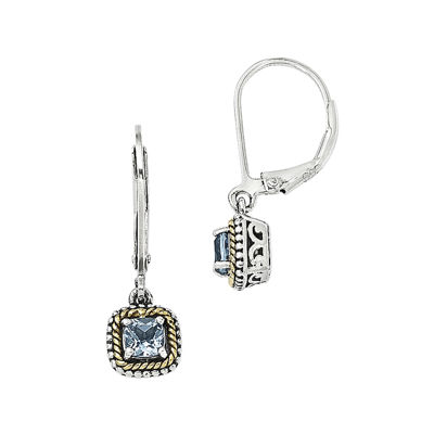 Shey Couture Genuine Blue Topaz Sterling Silver and 14K Yellow Gold Earrings