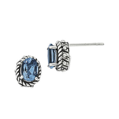 Shey Couture Genuine Blue Topaz Sterling Silver Antiqued Earrings