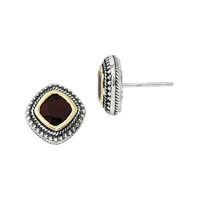 Shey Couture Genuine Garnet Sterling Silver and 14K Yellow Gold Cushion Earrings