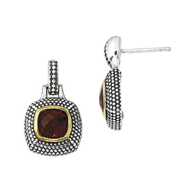 Shey Couture Genuine Garnet Sterling Silver with Gold-Tone Flash Gold-Plated Earrings