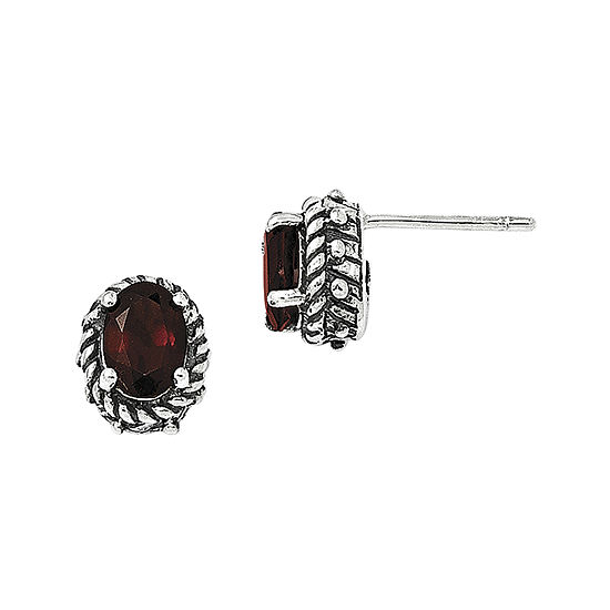 Shey Couture Genuine Garnet Sterling Silver Earrings