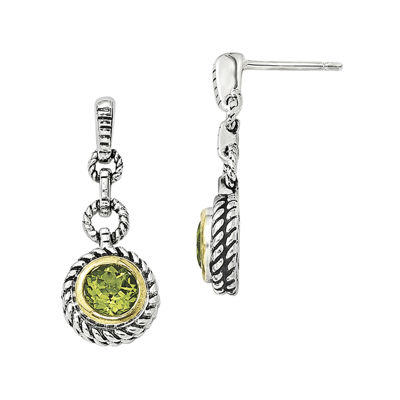 Shey Couture Genuine Peridot Sterling Silver with Gold-Tone Flash Gold-Plated Earrings