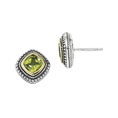 Shey Couture Genuine Peridot Sterling Silver 14K Gold Earrings