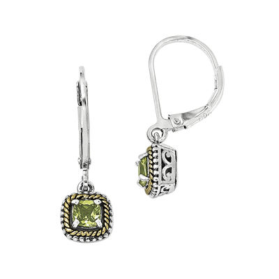 Shey Couture Genuine Peridot Sterling Silver 14K Gold Drop Earrings