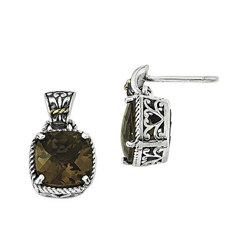 Shey Couture Genuine Smoky Quartz Sterling Silver with 14K Yellow Gold Earrings